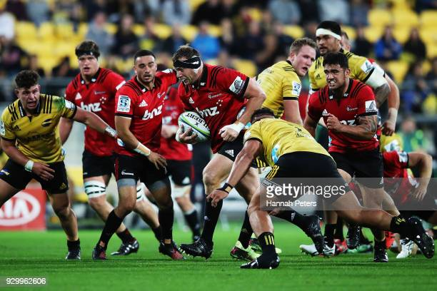 Wyatt Crockett of the Crusaders charges forward during the round four Super Rugby match between the Hurricanes and the Crusaders at Westpac Stadium...