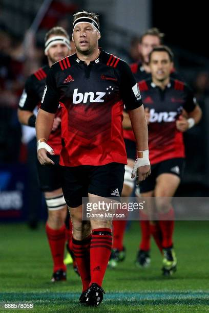 Wyatt Crockett of the Crusaders leads the team out for the round eight Super Rugby match between the Crusaders and the Sunwolves at AMI Stadium on...