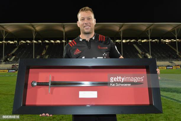 Wyatt Crockett of the Crusaders poses following the round eight Super Rugby match between the Crusaders and the Sunwolves at AMI Stadium on April 14...