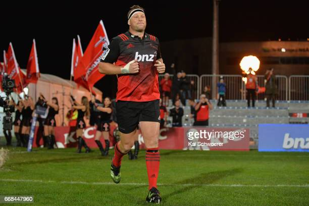 Wyatt Crockett of the Crusaders runs out prior to the round eight Super Rugby match between the Crusaders and the Sunwolves at AMI Stadium on April...
