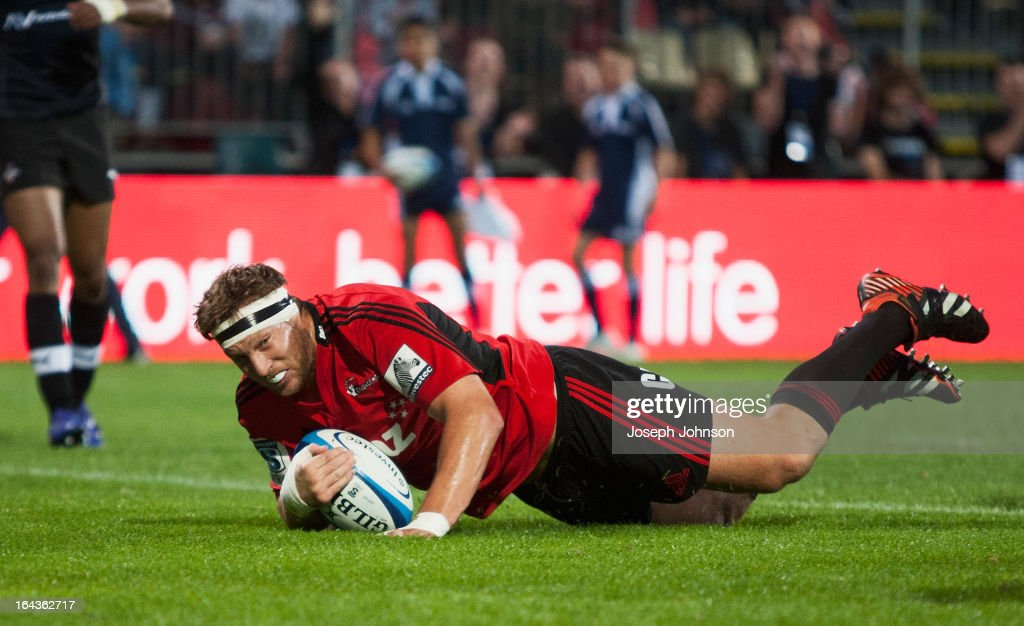 Wyatt Crockett of the Crusaders scores a try during the round six Super Rugby match between the Crusaders and the Kings at AMI Stadium on March 23, 2013 in Christchurch, New Zealand.