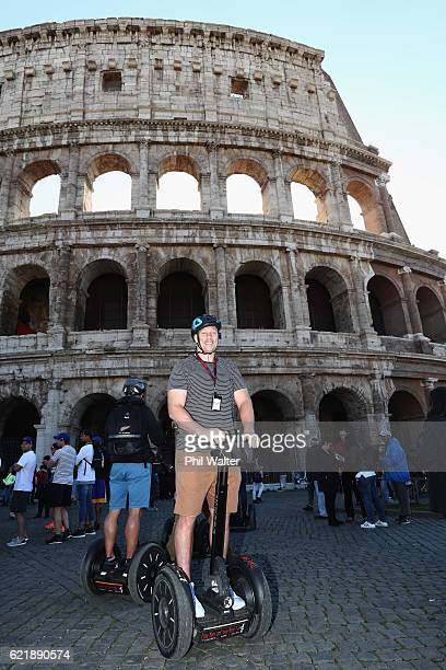 Wyatt Crockett of the New Zealand All Blacks rides a Segway outside the Colosseum on November 9 2016 in Rome Italy The All Blacks will play against...