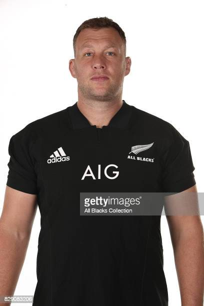 Wyatt Crockett poses during a New Zealand All Blacks headshots session at The Heritage Hotel on August 10 2017 in Auckland New Zealand