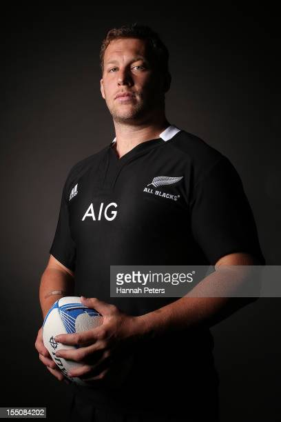 Wyatt Crockett poses during a New Zealand All Blacks portrait session at the Heritage Hotel on November 1 2012 in Auckland New Zealand