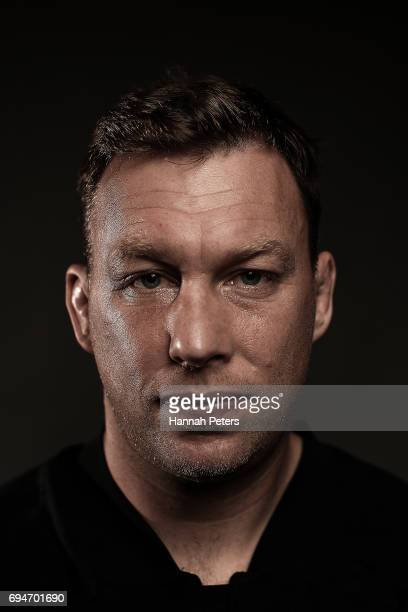 Wyatt Crockett poses for a portrait during the New Zealand All Blacks Headshots Session on June 11 2017 in Auckland New Zealand