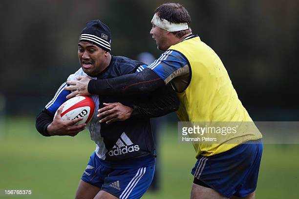 Wyatt Crockett tackles Julian Savea of the All Blacks during a training session at the University of Glamorgan training fields on November 20 2012 in...