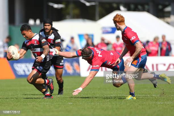 Will Jordan makes a break during the round six Mitre 10 Cup match between Tasman and Counties Manakau on September 23 2018 in Nelson New Zealand