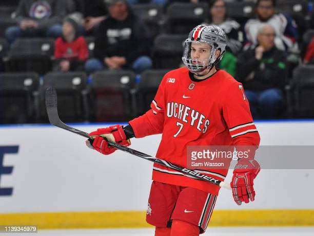 Wyatt Ege of the Ohio State Buckeyes stands on the ice during his team's NCAA Division I Men's Ice Hockey West Regional Championship Semifinal game...