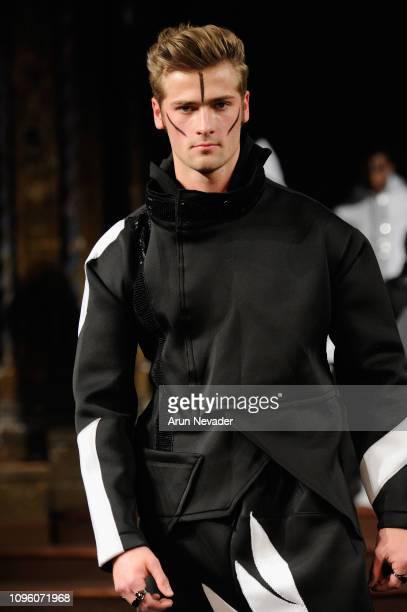 Wyatt Engeman walks the runway at BURNING GUITARS At New York Fashion Week Powered By Art Hearts Fashion NYFW at The Angel Orensanz Foundation on...
