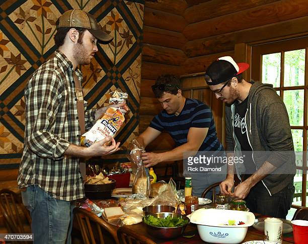 Wyatt Mccubbin Aaron Ellis and Ryan Creamer attend Country Rock Group Love And Theft Cabin Fever Writing Sessions on April 21 2015 in Dover Tennessee