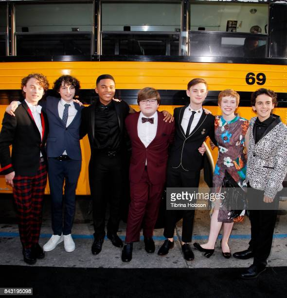 Wyatt Oleff Finn Wolfhard Chosen Jacobs Jeremy Ray Taylor Jaeden Lieberher Sophia Lillis and Jack Dylan Grazer attend the premiere of 'It' at TCL...