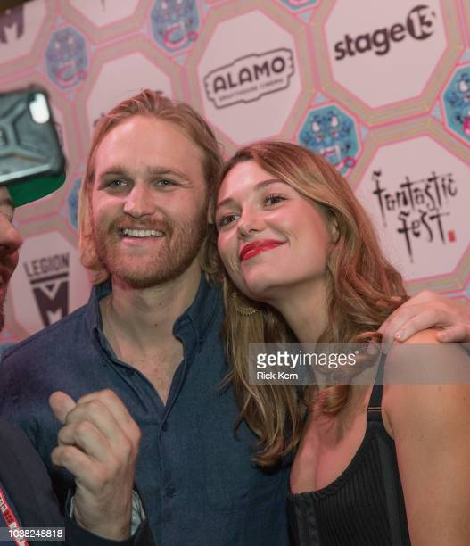 Wyatt Russell and Mathilde Ollivier attend the World Premiere of 'Overlord' during the 2018 Fantastic Fest Film Festival on September 22 2018 in...