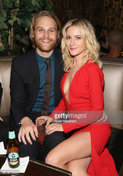 Wyatt Russell and Meredith Hagner attend 2016 Tribeca Film Festival After Party For Folk Hero Funny Guy at 1OAK on April 16 2016 in New York City
