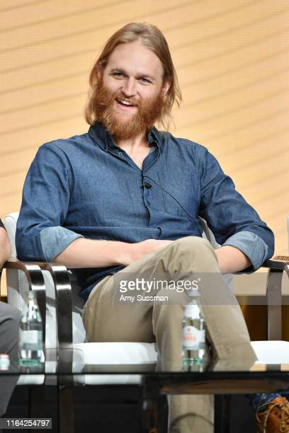 Wyatt Russell of 'Lodge 49' speaks during the AMC segment of the Summer 2019 Television Critics Association Press Tour 2019 at The Beverly Hilton...