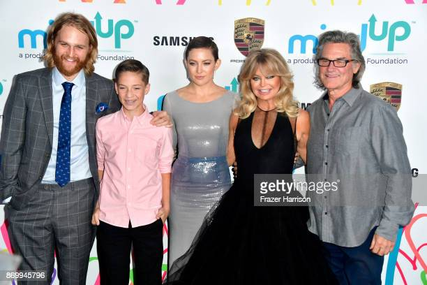 Wyatt Russell, Ryder Robinson, Kate Hudson, Goldie Hawn and Kurt Russell attend Goldie's Love In For Kids at Ron Burkle's Green Acres Estate on...