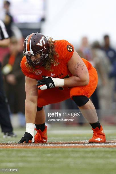 Wyatt Teller of the North team guards during the Reese's Senior Bowl at LaddPeebles Stadium on January 27 2018 in Mobile Alabama