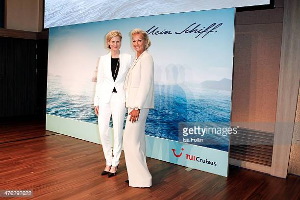 Wybcke Meier and Franziska van Almsick during the naming ceremony of the cruise ship 'Mein Schiff 4' on June 5 2015 in Kiel Germany
