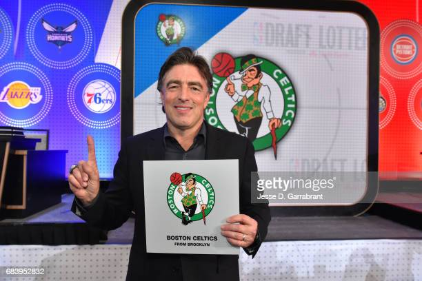 Wyc Grousbeck of the Boston Celtics poses for a photo after getting the pick during the 2017 NBA Draft Lottery at the New York Hilton in New York New...