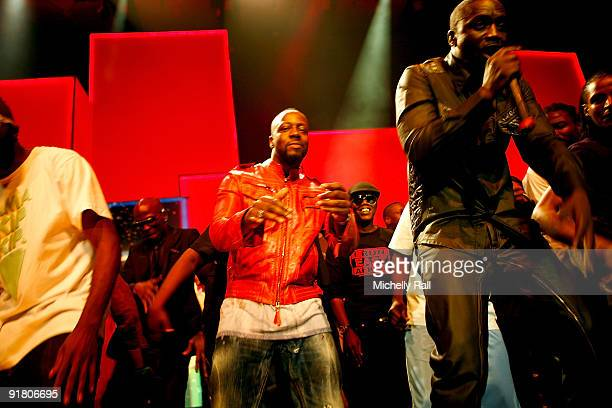 Wyclef Jean and Akon perform at the MTV Africa Music Awards with Zain at the Moi International Sports Centre on October 10 2009 in Nairobi Kenya