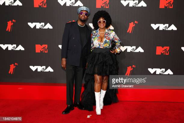 Wyclef Jean and Claudinette Jean attend the 2021 MTV Video Music Awards at Barclays Center on September 12, 2021 in the Brooklyn borough of New York...