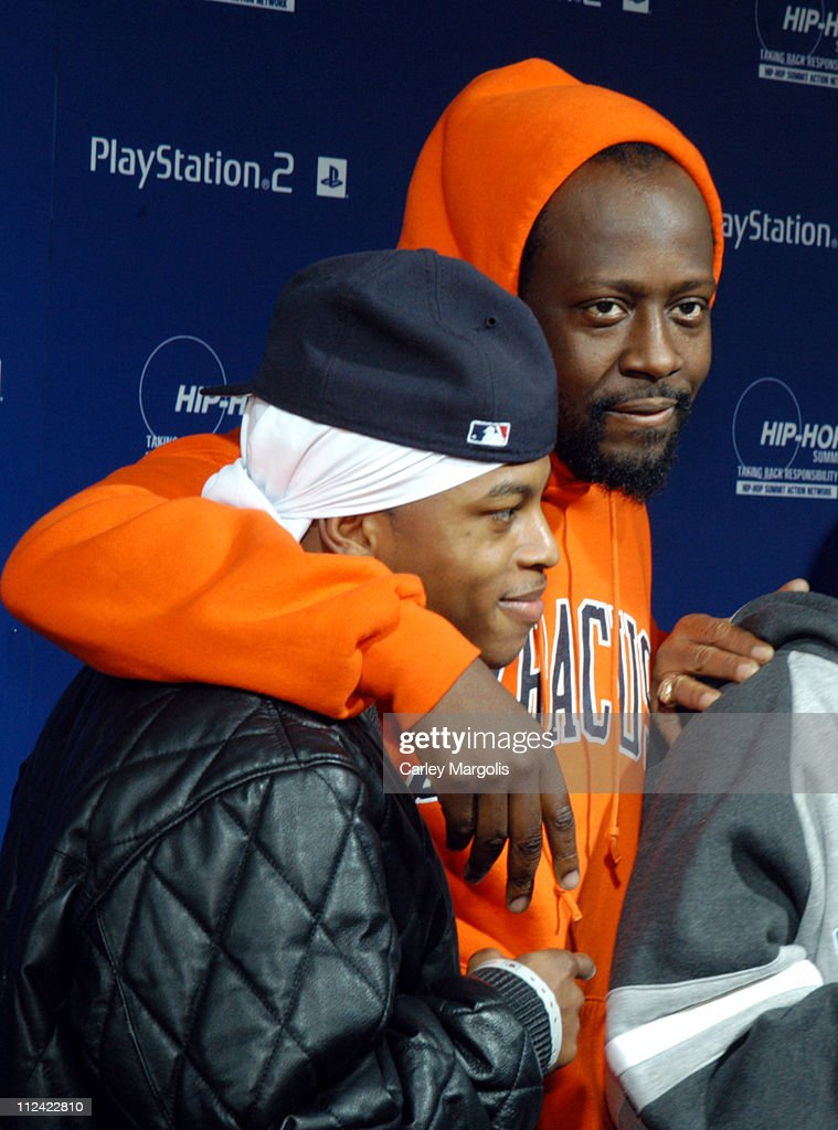 Wyclef Jean (right) and guest during Sony Playstation 2 Teams with Russel Simmons and the Hip-Hop Summit Action Network to 'Race to the Polls' - Arrivals at Hammerstein Ballroom in New York City, New York, United States.