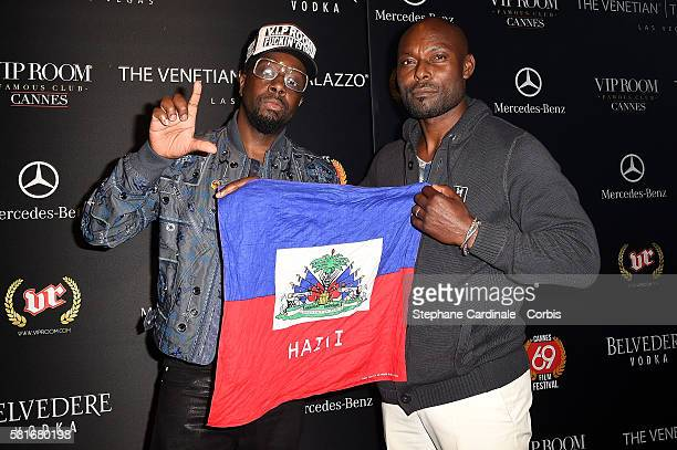 Wyclef Jean and Jimmy JeanLouis arrive at VIP Room JW Marriot during the 69th annual Cannes Film Festival on May 15 2016 in Cannes France
