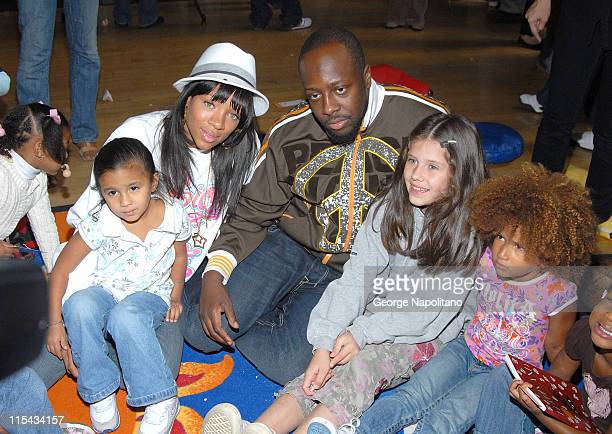 Wyclef Jean and Lil Mama at The Kids Block Party at Bank Street Head Start Center on September 18 2007 in New York City New York