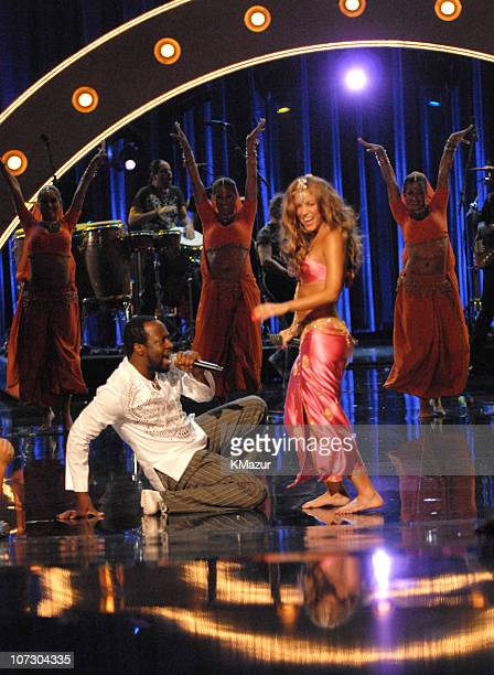 Wyclef Jean and Shakira perform Hips Don't Lie during 2006 MTV Video Music Awards Show at Radio City Music Hall in New York City New York United...
