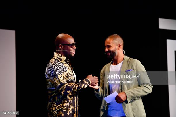Wyclef Jean and Tyron Ricketts attend the 'The Fall and Rise of a Refugee' panel talk during the Bread Butter by Zalando at Festsaal Kreuzberg on...