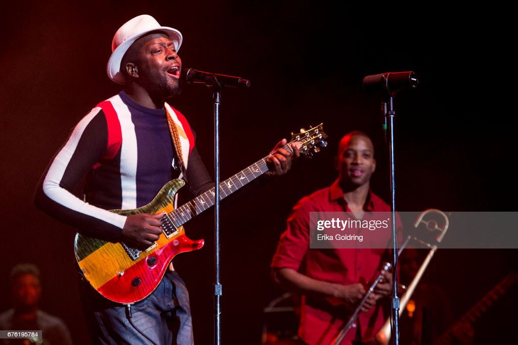 Wyclef Jean (L) peforms with Troy Andrews aka Trombone Shorty during Trombone Shorty's Treme Threauxdown at Saenger Theatre on April 29, 2017 in New Orleans, Louisiana.