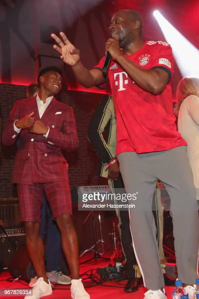 Wyclef Jean performes with David Alaba of FC Bayern Muenchen at the FC Bayern Muenchen Celebration 2018 Party at Nockherberg on May 12 2018 in Munich...