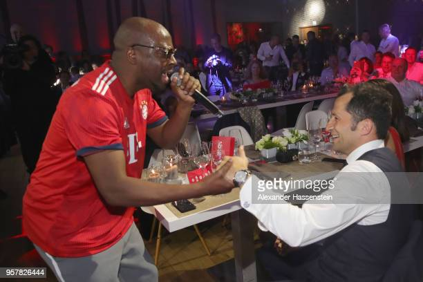 Wyclef Jean performes with Hasan Salihamidzic at the FC Bayern Muenchen Celebration 2018 Party at Nockherberg on May 12, 2018 in Munich, Germany.