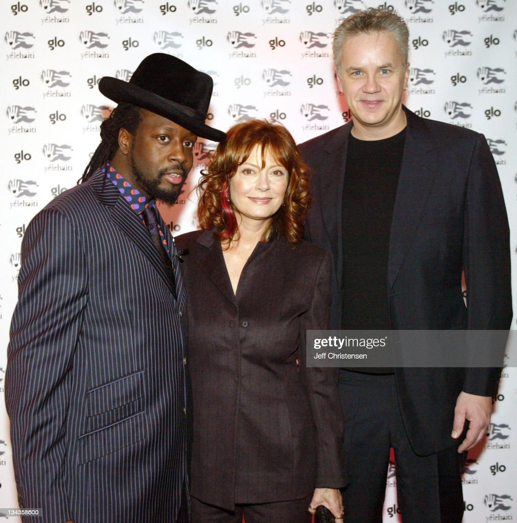 Wyclef Jean, Susan Sarandon and Tim Robbins during Wyclef Jean Holds Benefit Concert to Announce his Foundation Yele Haiti at Glo in New York City, New York, United States.