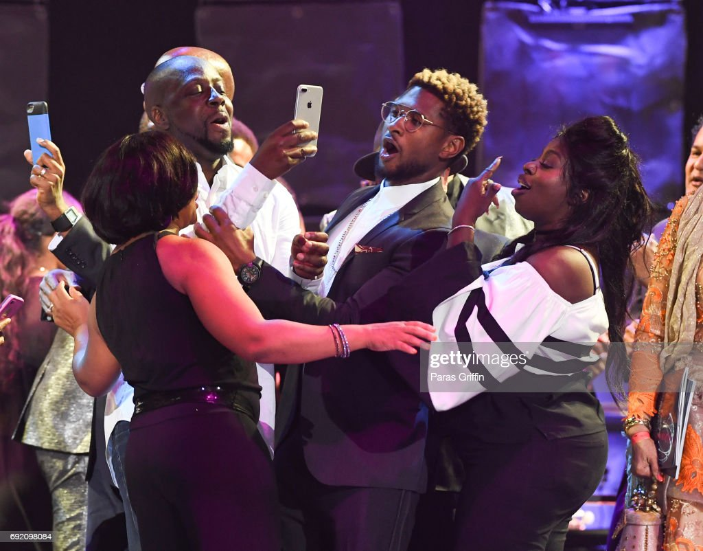 Wyclef Jean, Usher, and Angie Stone onstage at the 2017 Andrew Young International Leadership Awards and 85th Birthday Tribute at Philips Arena on June 3, 2017 in Atlanta, Georgia.