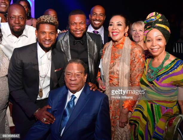 Wyclef Jean Usher Chris Tucker Andrew J Young Van Jones and Carolyn Young attend the 2017 Andrew Young International Leadership awards and 85th...