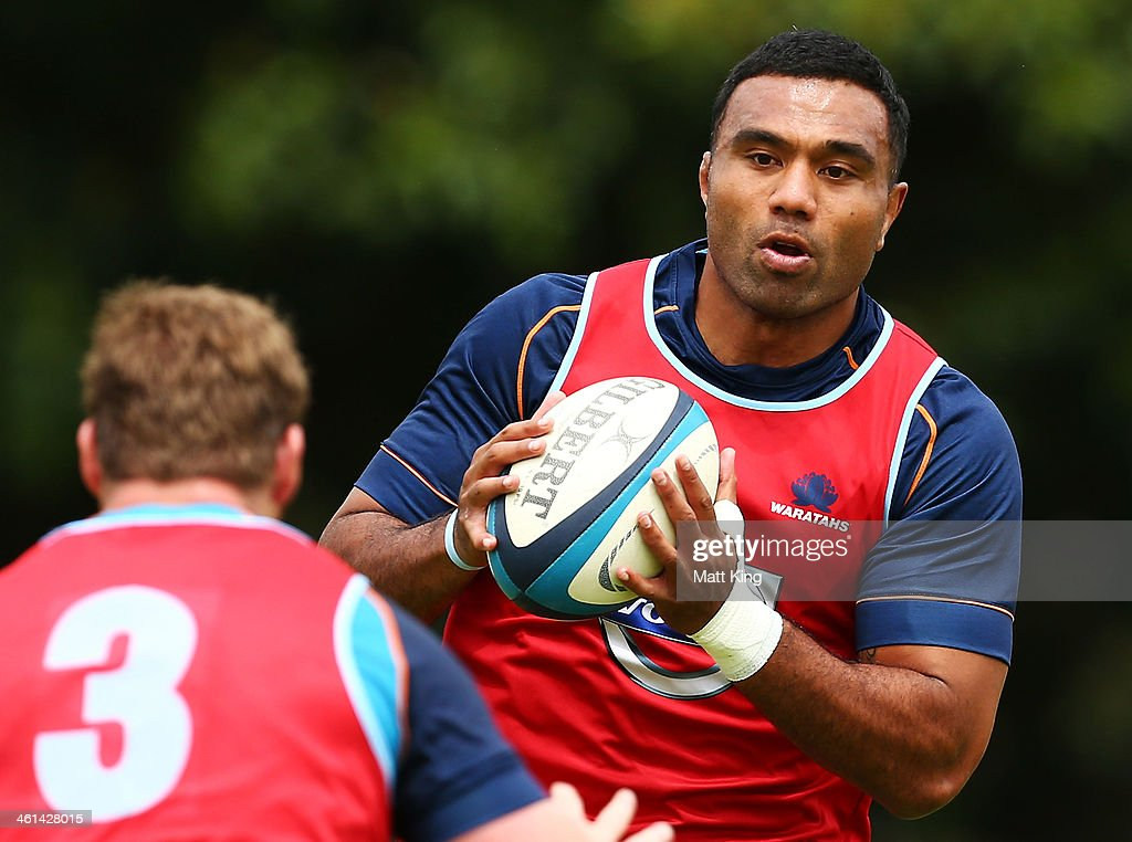 Wycliff Palu runs with the ball during a Waratahs Super Rugby training sesssion at Moore Park on January 9, 2014 in Sydney, Australia.