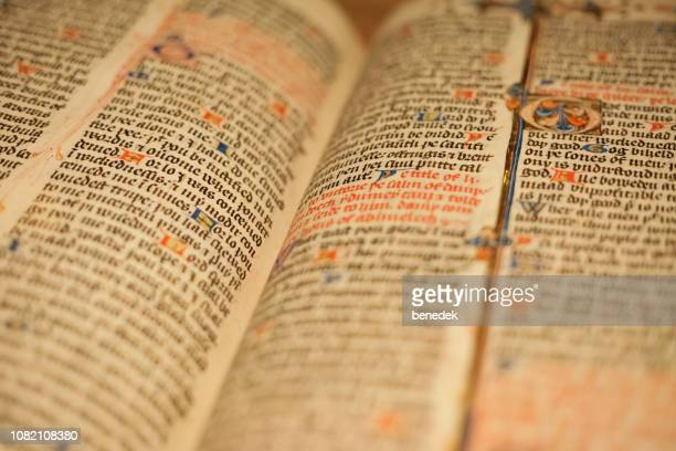 wycliffe's bible in the british library london uk - manuscript stock pictures, royalty-free photos & images