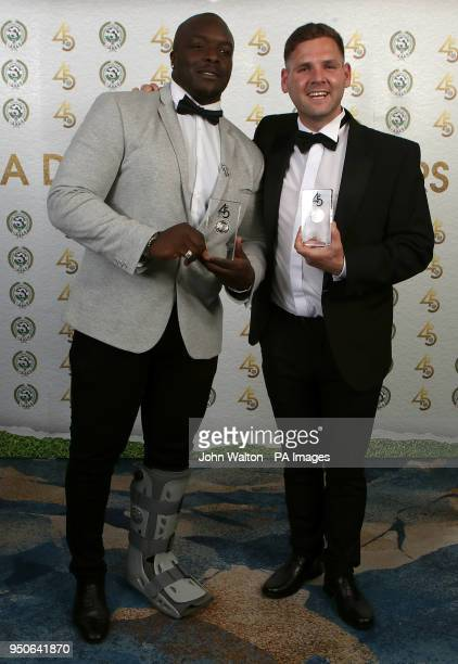 Wycombe Wanderers' Adebayo Akinfenwa and Accrington Stanley's Billy Kee poses with the PFA League Two Team of the Year award during the 2018 PFA...