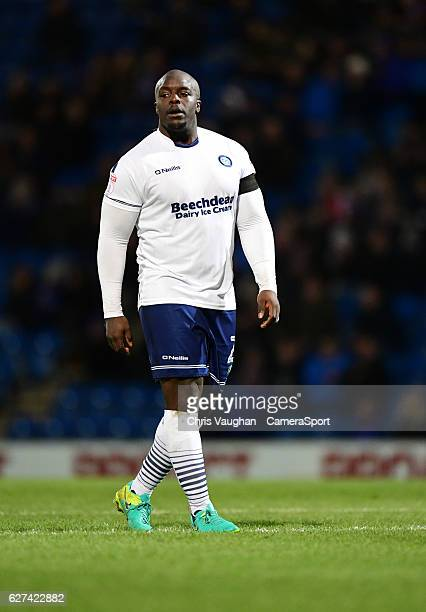 Wycombe Wanderers' Adebayo Akinfenwa during the Emirates FA Cup Second Round match between Chesterfield and Wycombe Wanderers at Proact Stadium on...