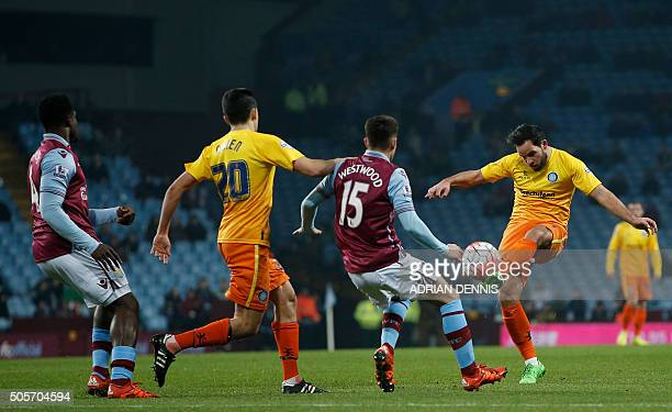 Wycombe Wanderers' English midfielder Sam Wood passes the ball during the English FA Cup third round replay football match between Aston Villa and...