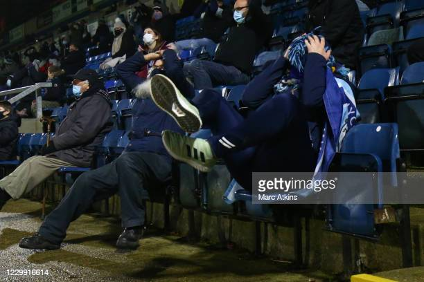 Wycombe Wanderers fan reacts during the Sky Bet Championship match between Wycombe Wanderers and Stoke City at Adams Park on December 2, 2020 in High...