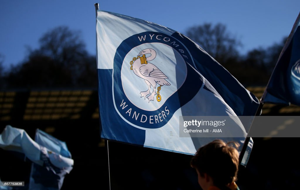 A Wycombe Wanderers flag during the Sky Bet League Two match between Wycombe Wanderers and Notts County at Adams Park on March 25, 2017 in High Wycombe, England.