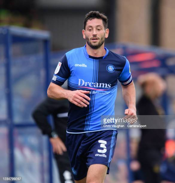 Wycombe Wanderers' Joe Jacobson during the Sky Bet League One match between Wycombe Wanderers and Lincoln City at Adams Park on August 21, 2021 in...