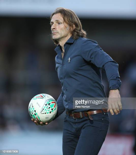 Wycombe Wanderers manager Gareth Ainsworth looks on during the Carabao Cup First Round match between Wycombe Wanderers and Northampton Town at Adams...