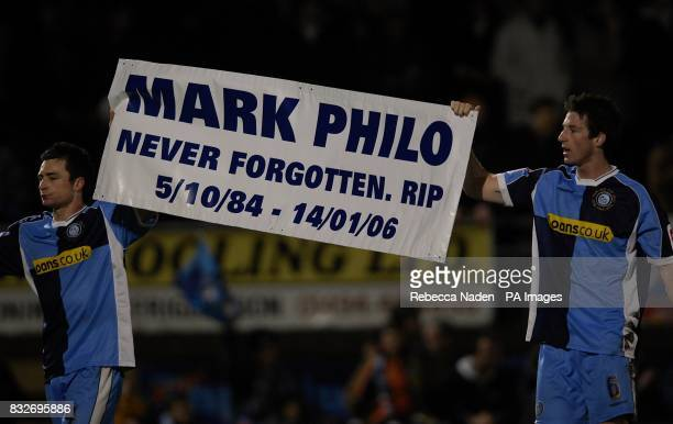 Wycombe Wanderer's Russell Martin and Mike Williamson rememeber former player Mark Philo at the end of the game