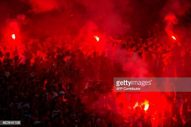 Wydad Athletic Club's supporters celebrate vitory following the CAF Champions League quarterfinal match against South Africa's Mamelodi Sundowns FC...