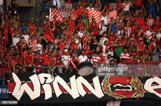 Wydad Casablanca fans enjoy the pre match atmosphere prior to the FIFA Club World Cup match between CF Pachuca and Wydad Casablanca at Zayed Sports...