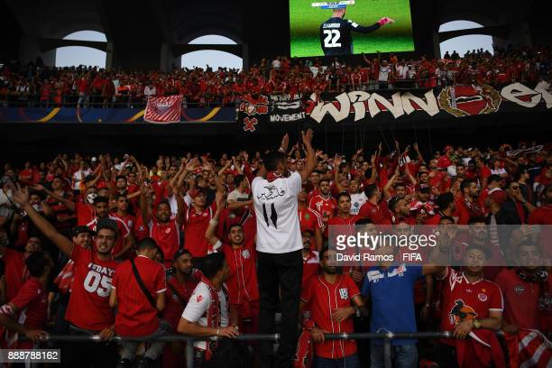 Wydad Casablanca fans surport their team during the FIFA Club World Cup match between CF Pachuca and Wydad Casablanca at Zayed Sports City Stadium on...