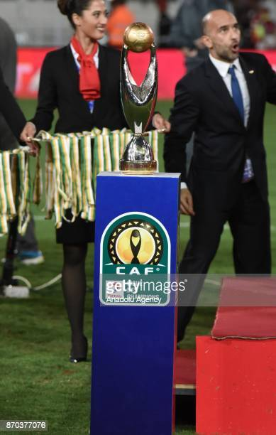 Wydad Casablanca team win the trophy after the CAF African Champions League match between Wydad Casablanca and Al Ahly at the Stade Mohammed V in...
