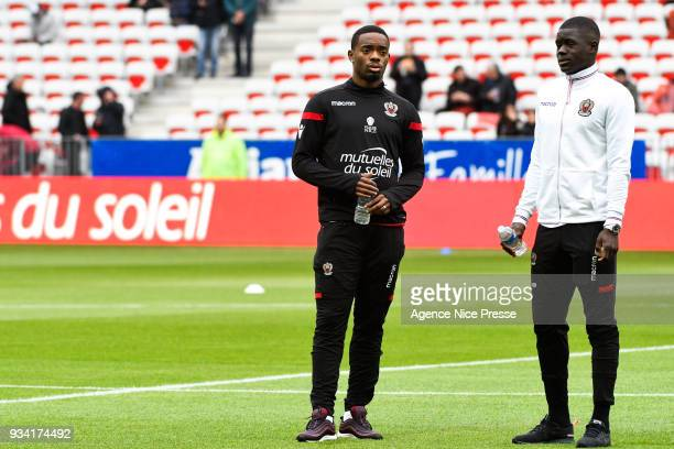 Wylan Cyprien and Malang Sarr of Nice warming up during the Ligue 1 match between OGC Nice and Paris Saint Germain at Allianz Riviera on March 18...